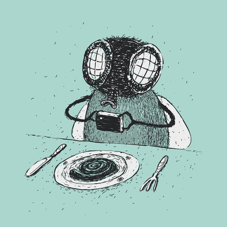 dung: Cartoon photographing food Illustration