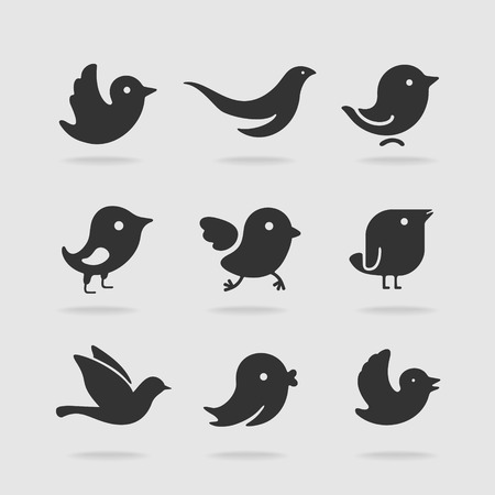 nestling birds: Symbol set bird Illustration
