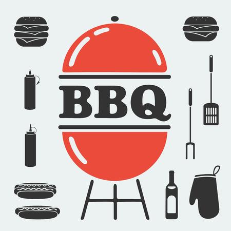 bbq chicken: Barbecue set of symbols