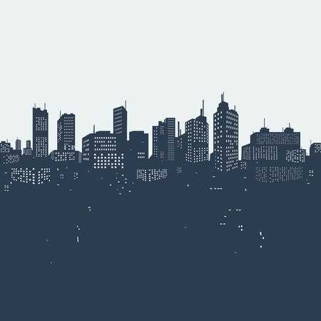 Silhouette background city Vector