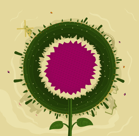 house clearance: Round planet and sunflower background for design.