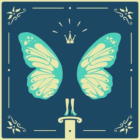 donna farfalla: Simbolo donna farfalla eps formato 8 file