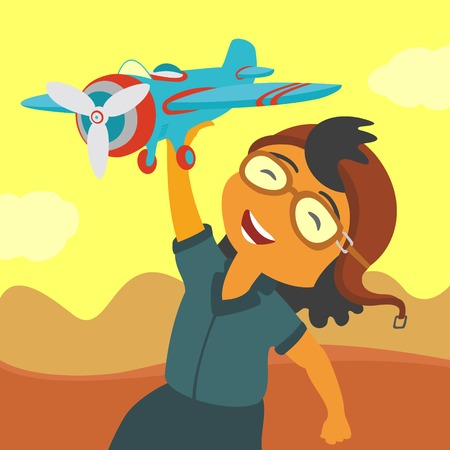 baby playing toy: Child playing airplane Illustration