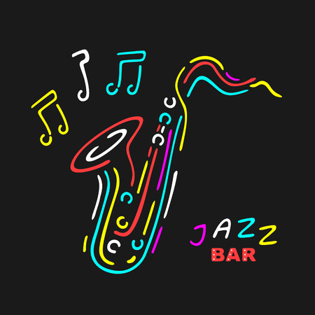 Neon Saxophone Symbol eps 8 file format