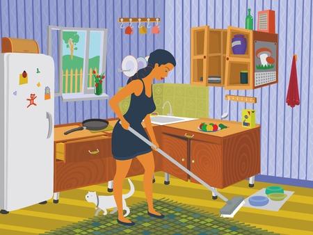 cocina limpieza: Chica limpieza de la cocina eps 8 archivo