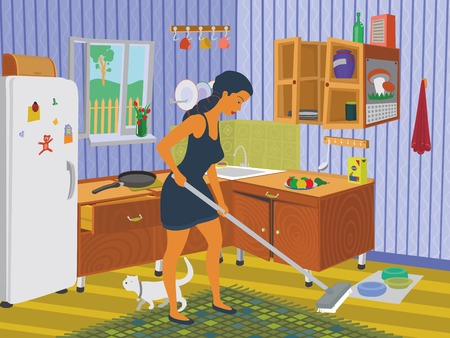 kitchen cleaning: Girl cleaning the kitchen eps 8 file format