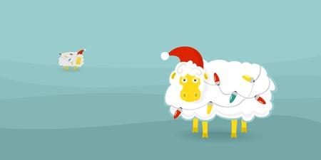 file format: Christmas card sheep eps 8 file format Illustration