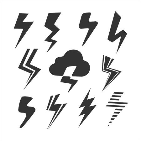 Conjunto de símbolos de formato de archivo Rayo Ilustración de vector