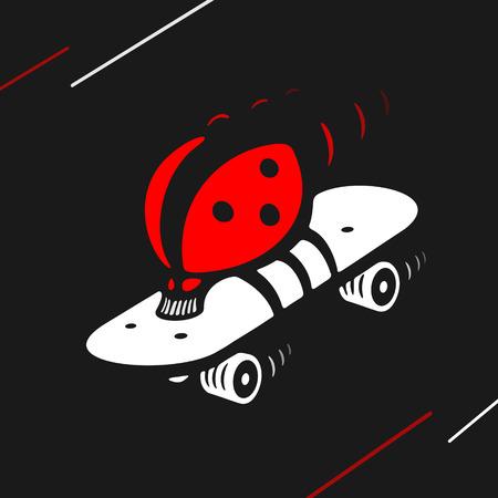 speed skating: Vector Symbol Ladybug Speed Skating