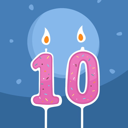 paraffin: Vector Candle Ten Years Illustration
