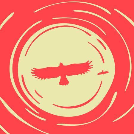 predatory: Illustration Predatory Bird on a Background of the Sun