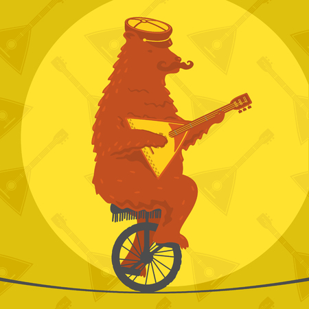 tightrope walker: Bear riding a motorcycle on a tightrope Illustration