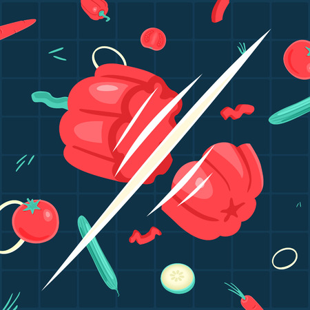 throwing knife: Illustration Cutting vegetables