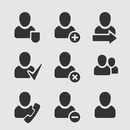 obra social: Conjunto de usuario con símbolos