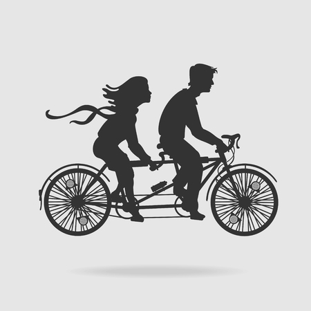 tandem bicycle: Couple on Tandem Bicycle