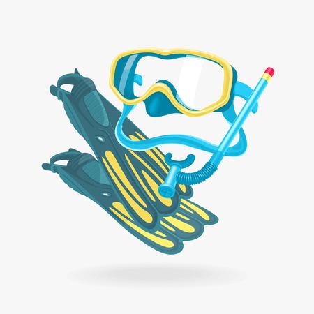 fins: Mask and Fins Diving Set Illustration