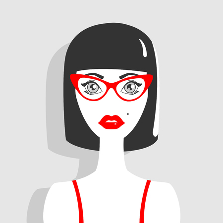 birthmark: Illustration Retro brunette girl. Illustration