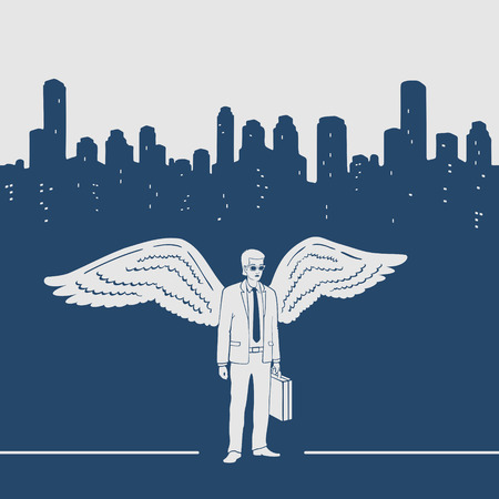 silueta masculina: Man in a suit with wings vector illustration
