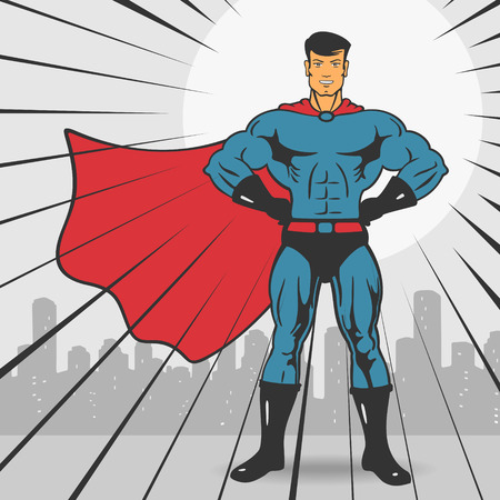 action hero: Super Action Hero Stand Vector Illustration