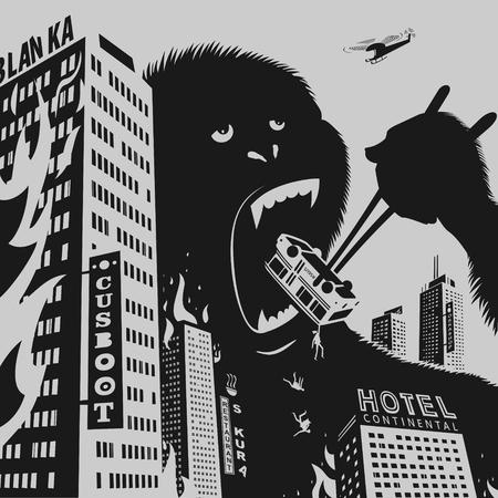 Big Gorilla zerstört Stadt Vektor-Illustration Vektorgrafik