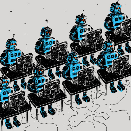 personal computer: Group of Robots and personal computer vector illustration