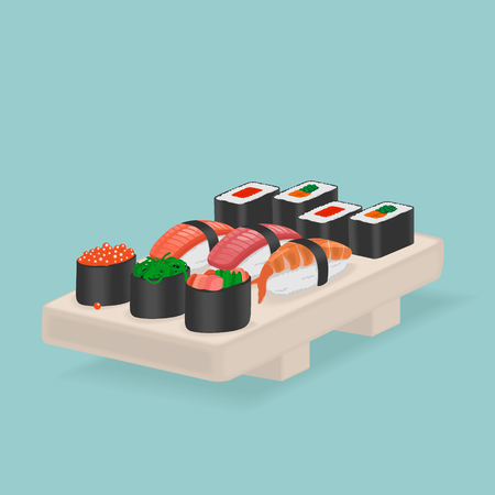Japanese Food Sushi and rolls Vector Illustration