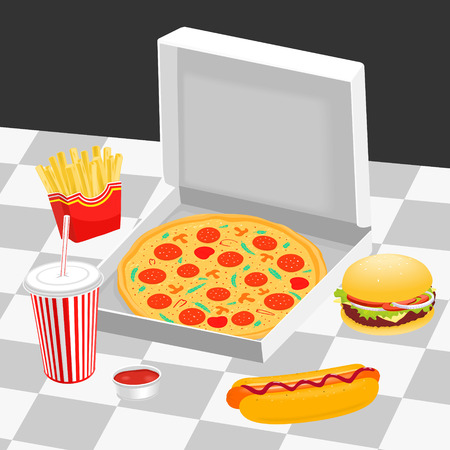 Fast food on the table  illustration eps 8 file format
