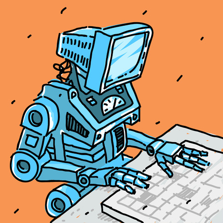 Robot and computer vector illustration eps 8 file format Vector Illustration