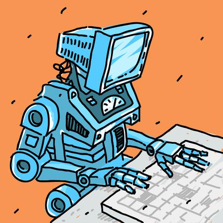 Robot and computer vector illustration eps 8 file format Illustration