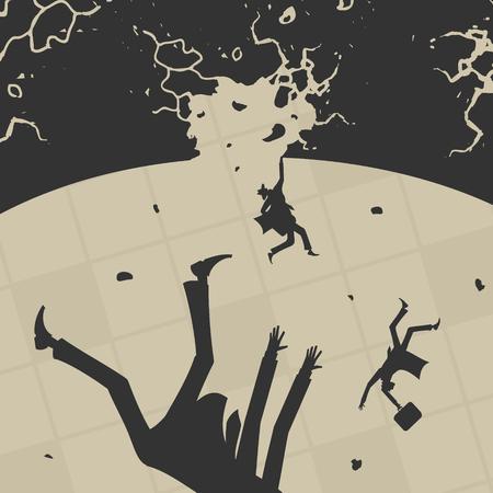 Persone d'affari cadono nell'illustrazione vettoriale abyss