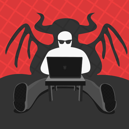 pervert: Hacker and Computer Devil Vector Illustration eps 8 file format
