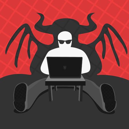 Hacker and Computer Devil Vector Illustration eps 8 file format