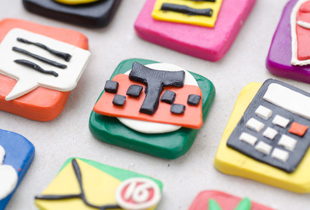 Handmade Application Icons From Plasticine. Macro Photo