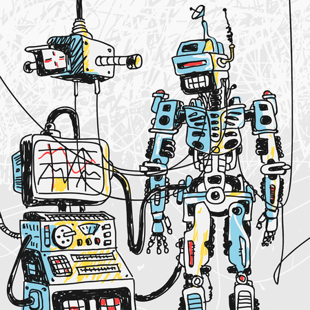 Robot and Computer Technology Vector Illustration eps 8 file format