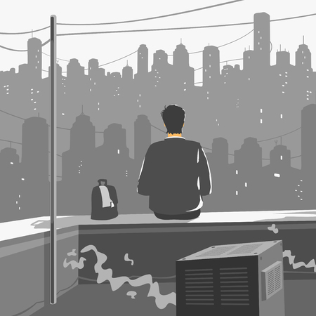A Man Sitting on Roof of a Skyscraper Vector Illustration eps 8 file format Illustration