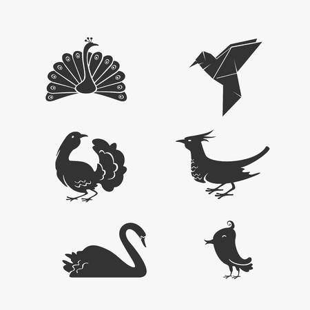 Vector Set of Bird Symbols eps 8 file format