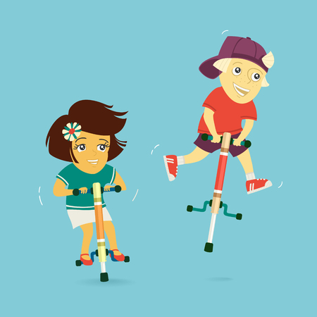 Boy and Girl Ride on Jumpers Illustration