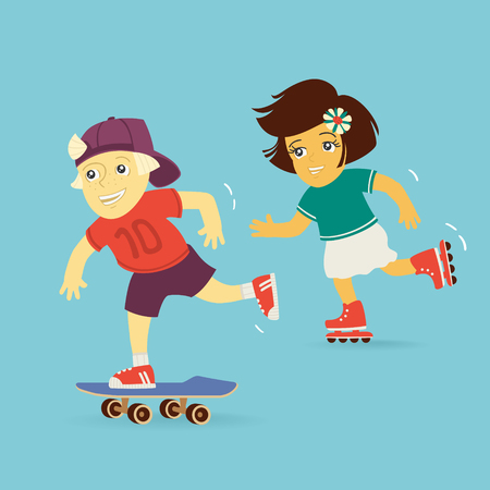 Boy and Girl Rollerblading Vector Illustration