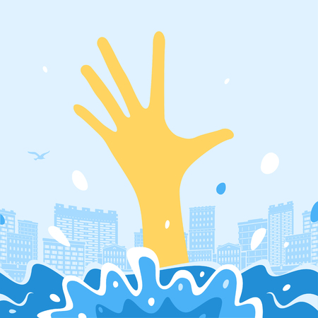 Man Sinks and hand out of the water. Vector Illustration