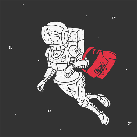 Girl in Space Vector Illustration Illustration