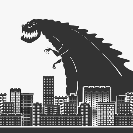Monster In A Town Vector Illustration