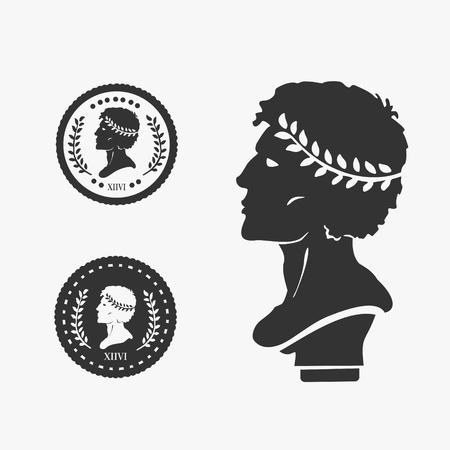 Griekse Profiel Munt Vectorillustratie