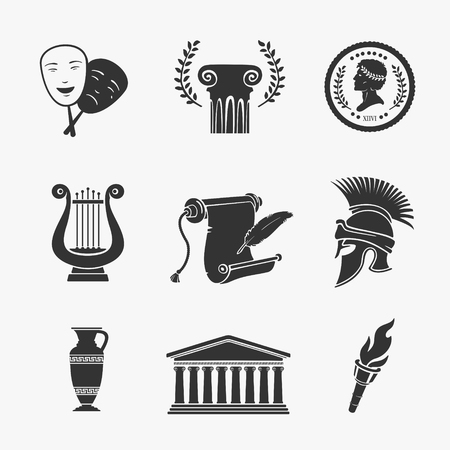 Set Symbol Greece Greece Vector Illustration