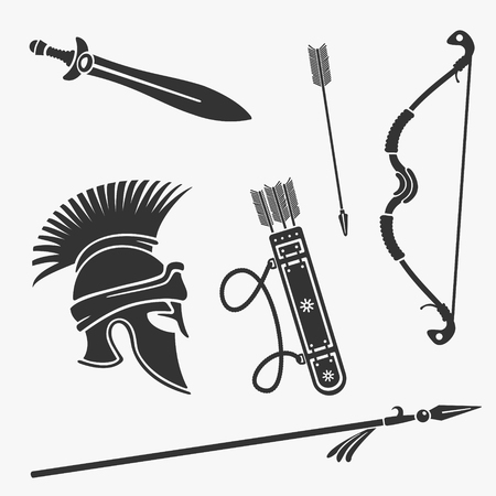 Element Set Ancient Weapon and Armor Stock Vector - 78180791