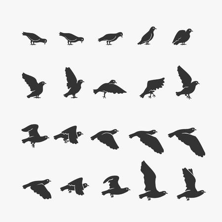 Animation Dove flying Vector Illustration Иллюстрация