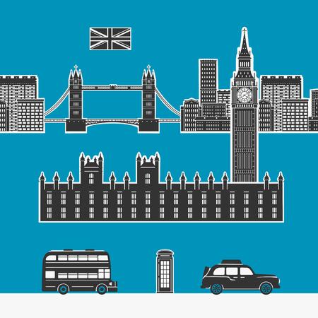 cabina telefonica: Elementos del vector de Inglaterra Londres Vectores