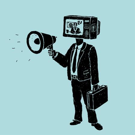 Propagande par la télévision et haut-parleur Vecteurs