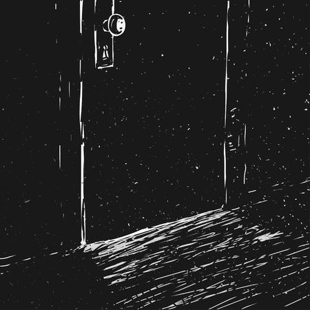 Vector Illustration Closed Door In The Dark Room