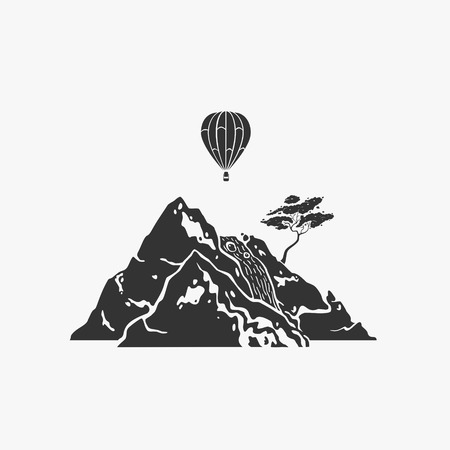 Vector Illustration Symbol Rock And Air Balloon