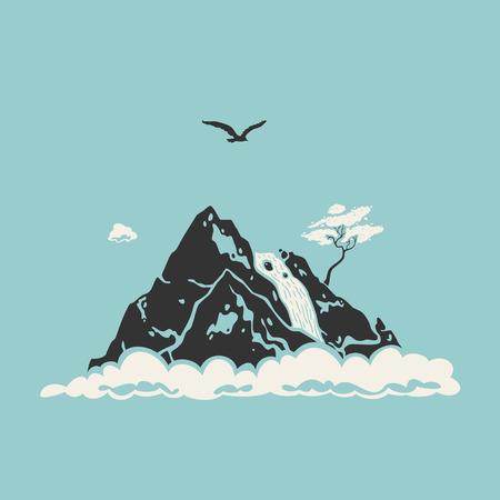 Vector illustration of mountain landscape. silhouette symbol.